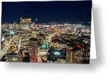 Panoramic View Of The Boston Night Life Greeting Card