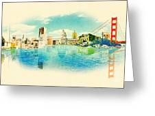 Panoramic Water Color Illustration San Greeting Card