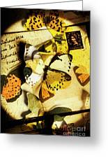 Paper Wings And Inked Out Notes Greeting Card