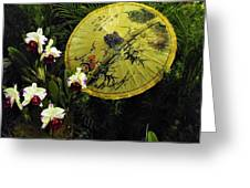 Parasol Among The Orchids Greeting Card