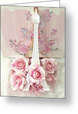 Paris Shabby Chic Pink White Roses Eiffel Tower Baby Girl Nursery Decor - Paris Pink Roses Greeting Card