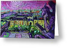Paris View With Gargoyles Diptych Oil Painting Right Panel Greeting Card