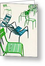 Parisian Metallic Chairs In The City Greeting Card