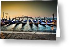 Parked Gondolas, Early Morning In Venice, Italy.  Greeting Card