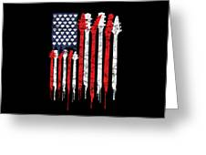 Patriotic Guitar Flag America Lovers Guitar Music Lovers Gifts Greeting Card