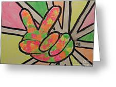 Peace Sign Greeting Card by Saundra Johnson