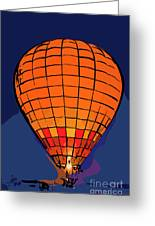 Peach Hot Air Balloon Night Glow In Abstract Greeting Card
