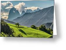 Peak And Meadow Greeting Card by James Billings