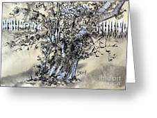 Pear Tree And Pickets Greeting Card