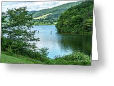 People Use Stand-up Paddleboards On Lake Habeeb At Rocky Gap Sta Greeting Card