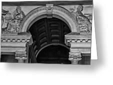 Philadelphia City Hall Fresco In Black And White Greeting Card