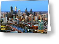 Philadelphia Skyline At Dusk 2018 Greeting Card