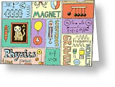 Physics Science Banners Set. Color Hand Greeting Card