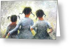 Pigtails Three Sisters Greeting Card
