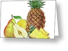 Pineapple Pear Watercolor Food Illustration  Greeting Card