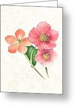 Pink And Orange Flowers On Subtle Cream Marble Greeting Card