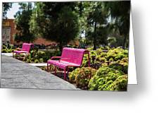 Pink Chairs At Grand Park Greeting Card