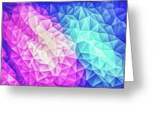 Pink Ice Blue  Abstract Polygon Crystal Cubism Low Poly Triangle Design Greeting Card