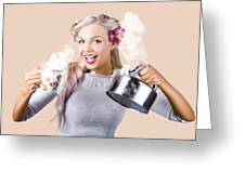 Pinup Girl Holding Kettle And Mug Greeting Card
