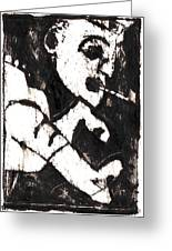Pipe After Mikhail Larionov Black Oil Painting 4 Greeting Card