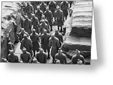 Pit 1 Of Terra Cotta Warriors In Black And White Greeting Card