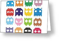 Pixel Monster Icon Greeting Card