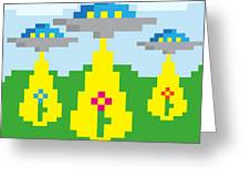 Pixel Vector Landscape With Ufo Greeting Card