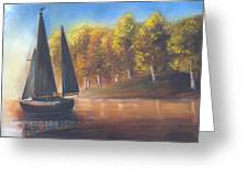 Plain Sailing, Boat Painting Greeting Card