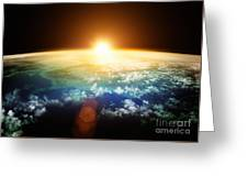 Planet Earth With A Spectacular Sunset Greeting Card