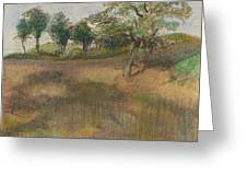 Ploughed Field Bordered By Trees Greeting Card