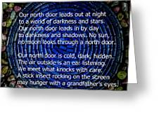 Poem Spirit Door Over Lapis Spiral In Bed Of Tourmaline Greeting Card