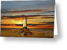 Point Of Ayr Lighthouse Sunset Greeting Card by Adrian Evans