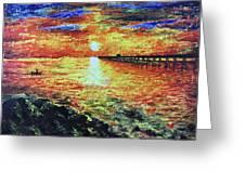 Pondicherry Beach Sunrise Greeting Card