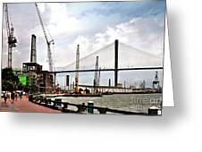 Port Of Savannah Crane Construction Greeting Card