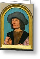 Portrait Of A Man With A Pink Greeting Card