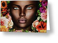 Portrait Of African Woman Surrounded With Flowers Greeting Card by Jan Keteleer