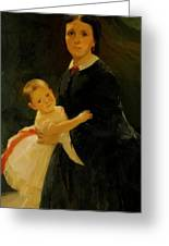 Portrait Of Shestova With Daughter Greeting Card