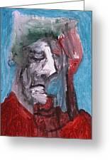 Portrait On Blue Greeting Card
