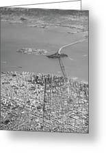 Portrait View Of Downtown San Francisco From Commertial Airplane Greeting Card