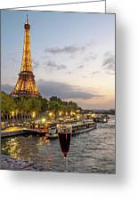 Portrait View Of The Eiffel Tower At Night With Wine Glass In The Foreground Greeting Card