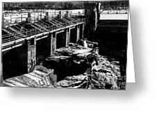 Post Falls Dam Black And White Greeting Card