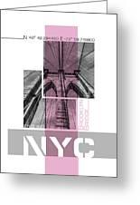 Poster Art Nyc Brooklyn Bridge Details - Pink Greeting Card