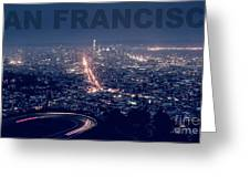 Poster Of Downtown San Francisco With Harbor On The Right Greeting Card
