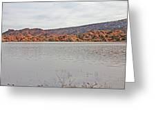 Prescott Arizona Watson Lake Hills Mountains Rocks Water Grasses Cloudy Sky 3142019 4920 Greeting Card