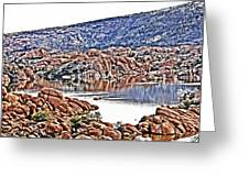 Prescott Arizona Watson Lake Rocks, Hills Water Sky Clouds 3122019 4867 Greeting Card