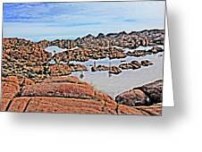 Prescott Arizona Watson Lake Rocks, Hills Water Sky Clouds 3122019 4870 Greeting Card