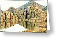 Prescott Arizona Watson Lake Water Mountains Lake Rocks Sky Reflections 4831 Greeting Card