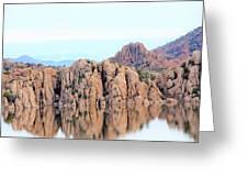 Prescott Arizona Watson Lake Water Mountains Lake Rocks Sky Reflections 4835 Greeting Card