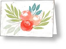 Pretty Coral Roses - Art By Linda Woods Greeting Card