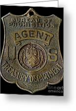 Prohibition Agent Badge Greeting Card